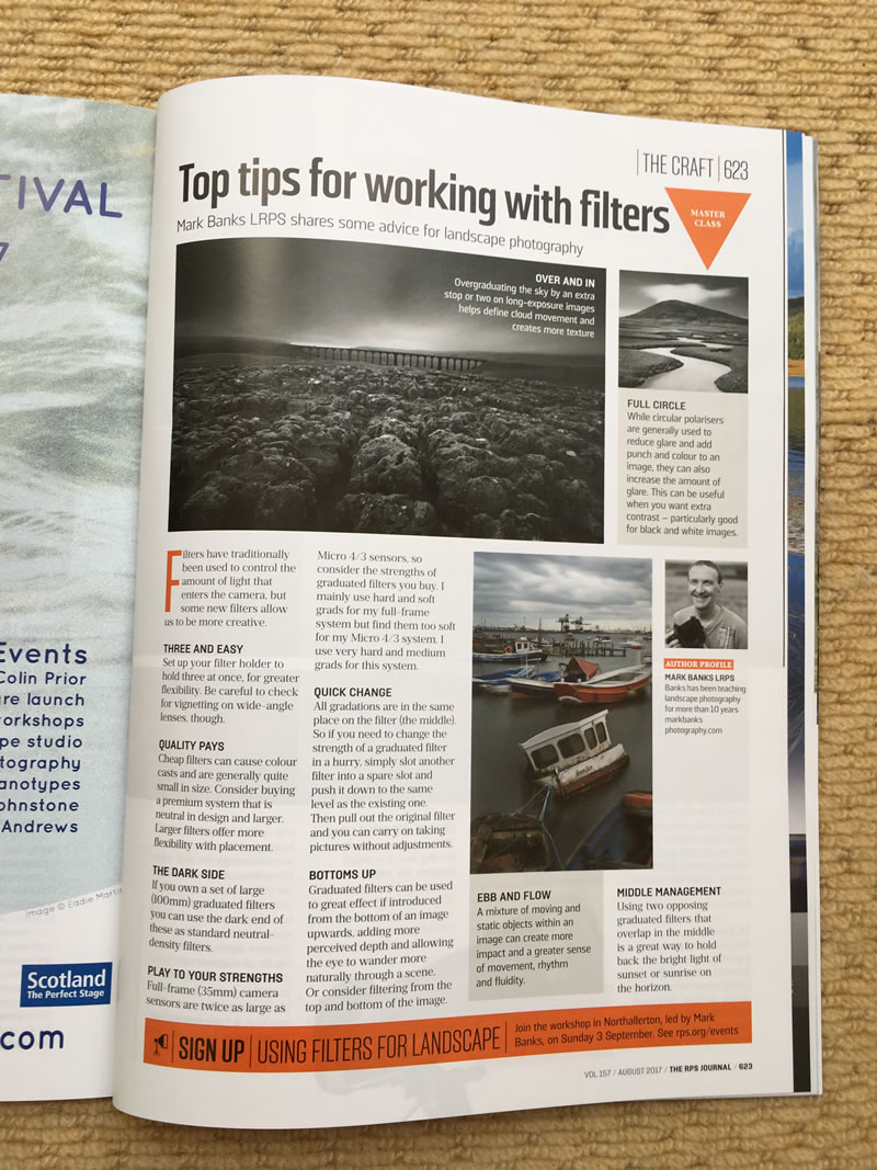RPS Journal Magazine article - Mark Banks using filters in landscape photography